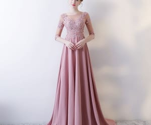 evening dress, candy pink dress, and girl image