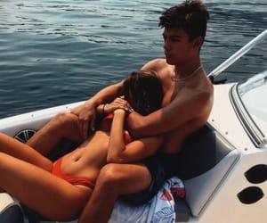 beach, couple, and hug image
