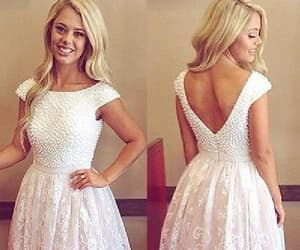 white homecoming dress, lace party dress, and ball gown party dress image
