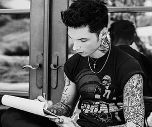 black and white, tattoo, and andy biersack image