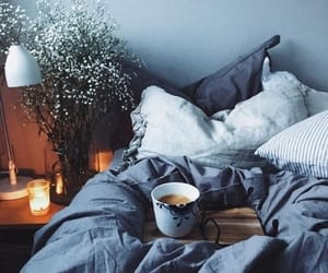 coffee, bed, and fall image
