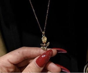 red, nails, and gold image