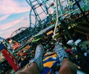 amusement park, fun, and evening image