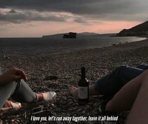 away, beach, and couple image