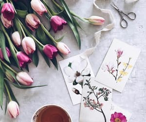 art, drinks, and flowers image