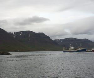 boat, fjord, and mountain image