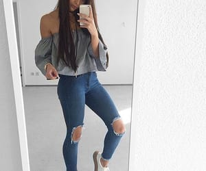 denim, sneakers, and fashion image