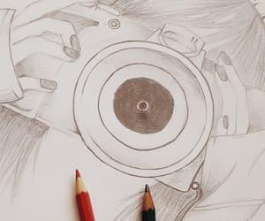 camera, drawing, and pen image