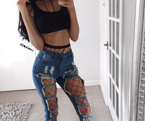 denim, fishnet, and grunge image