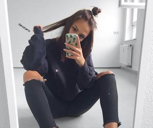 denim, sneakers, and hair image