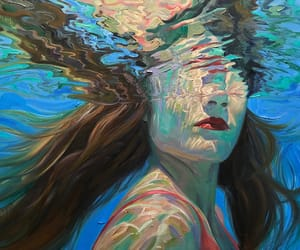 art, girl, and Oil Painting image