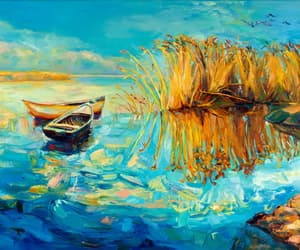 art, painting, and boat image