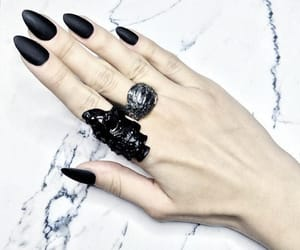 black nails, rings, and gothic image