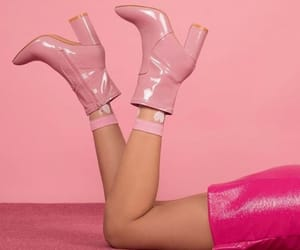 boots, pink, and pink skirt image