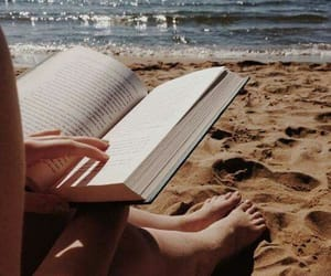 beach, book, and relax image