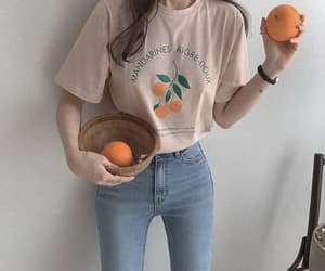 girl, jeans, and orange image