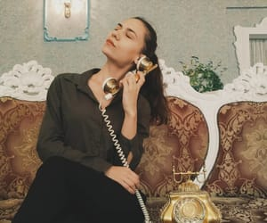 gold, telephone, and vintage image