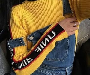 long sleeve, outfit, and yellow image