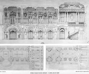 architecture, mansion, and staircase image