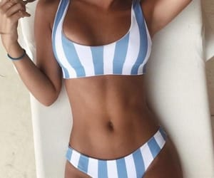 bikini, stripes, and blue image