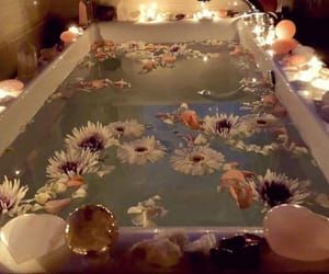 aesthetic, flowers, and bath image
