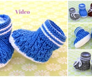 knitting, baby booties, and shoes image