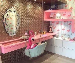 decor, flamingo, and girl image