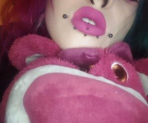 colored hair, septum, and Piercings image