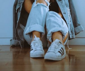 adidas, sneakers, and denim jacked image