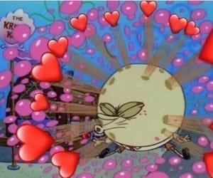 spongebob squarepants, hearts, and memes image