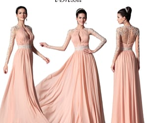 long sleeves, formal prom dress, and peach color image