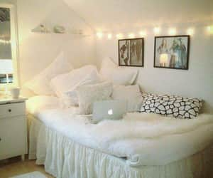 bed, frames, and room decorations image