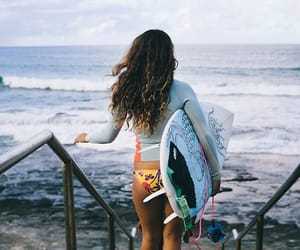 beach, curly hair, and surf image