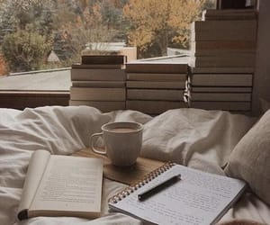 bed, diary, and girl image
