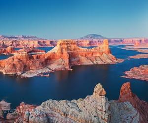blue, desert, and lake image