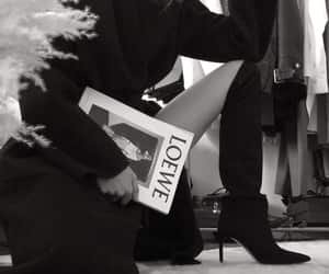 black and white, book, and look image