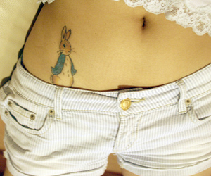 tattoo, Peter Rabbit, and shorts image