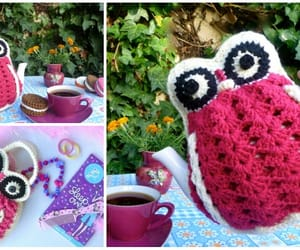 crochet, owl, and tea cosy image