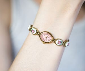 etsy, floral bracelet, and gold women watch image