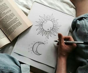 drawing, moon, and picture image