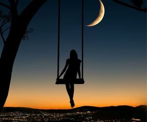 girl, sunset, and moon image