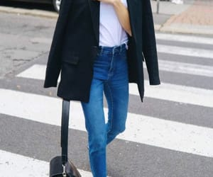 black and white, denim, and outfit image
