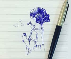 art, pen, and blue image