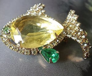 etsy, green rhinestones, and figural brooch pin image