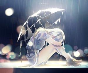 anime, rain, and sad image