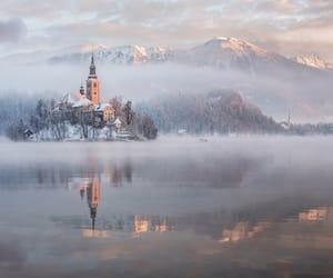 lake, slovenia, and snow image