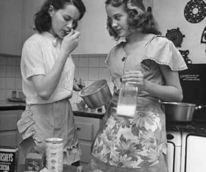 girl, vintage, and baking image
