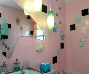 bathroom, vintage, and green image