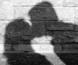 couple, kiss, and shadow image
