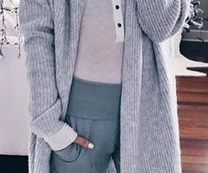 cosy, lounge wear, and long grey cardigan image